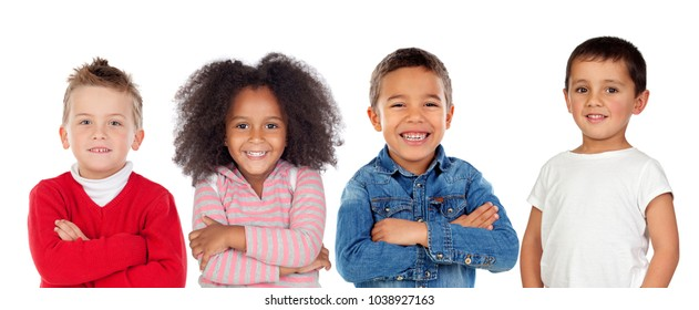 Children looking at camera isolated on a white background