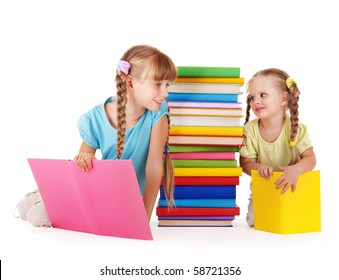 Children  looking at each other near pile of book. Isolated.
