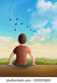 Children looking into a serene, sunny landscape, with birds flying through the sky. Digital illustration.