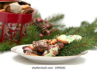 Children made christmas cookies in the christmas tin