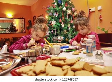 Children make cakes on the Christmas eve