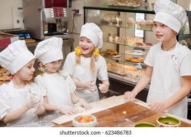 Children make dough products