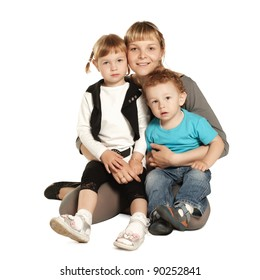 children with mother on white background