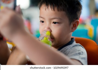 children Nasal wash, feel sick, cleaning nose. healthcare concept, mother wash child nose