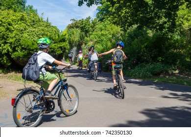 children on bike tour or school excursion