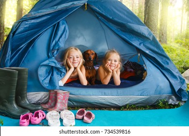 Children on the campsite Little girls in the tent