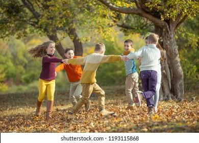 Children on nature autumn