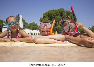 Children on the pool