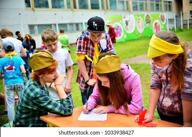 "Children on vacation children's camp ""science town"". Russia. Zelenograd 19.06.15"