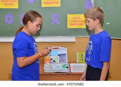 "Children on vacation children's camp ""science town"". Russia. Zelenograd 18.08.16"