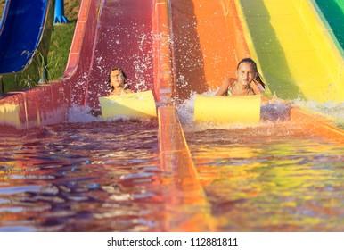 Children on the water slide
