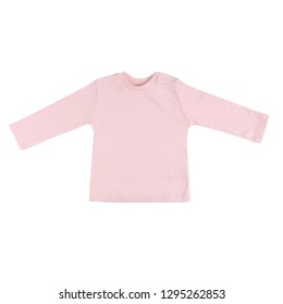 Children pink long sleeve top isolated on a white background. Front view