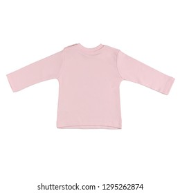Children pink long sleeve top isolated on a white background. Back view