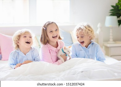 Children play with baby cat in bed in white bedroom. Kid holding white kitten. Little girl and boy in pajamas with cute pet animal at home. Kids play with cats. Children and domestic animals pets.