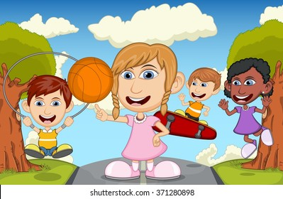 Children play basketball, jumping rope, and skateboard on the street cartoon