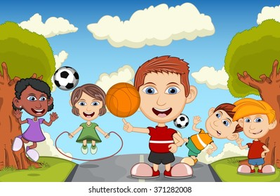 Children play basketball, jumping rope, soccer and skateboard on the street cartoon