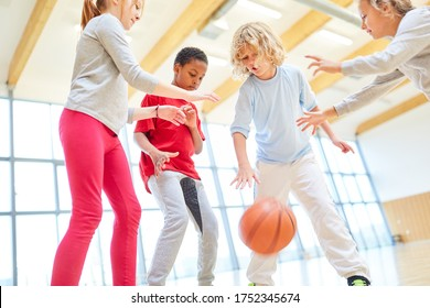 Children play basketball in physical education in the gymnasium of elementary school