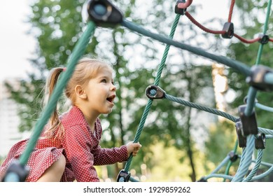 Children play and climb outdoors on a sunny summer day. Nice kid girl on a swing nest in a preschool sports complex.