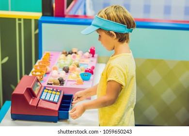 Children play as ice cream seller.