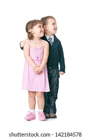 children play a married couple on a white background