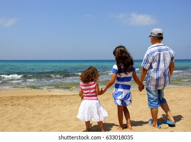 Children play on the beach