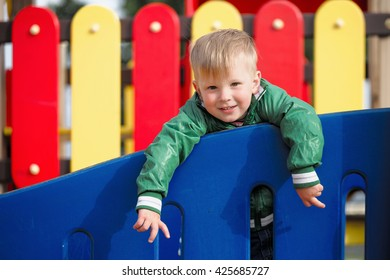children play on the playground. early spring.