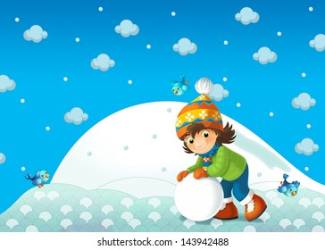 Children at play on the snow - illustration for the children