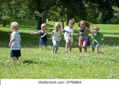 children at play on a sunny day in the park