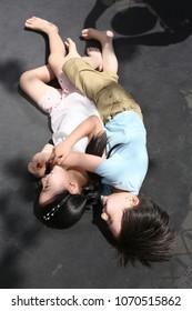 Children play outdoors