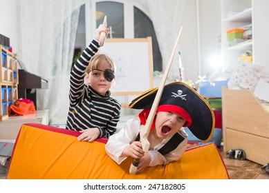 children play pirates