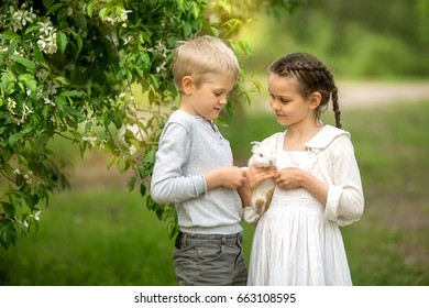 Children play with a rabbit in a flowering spring garden. Concept of children and animals