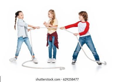 Children play tug of war, boy vs girls, kids sport isolated concept