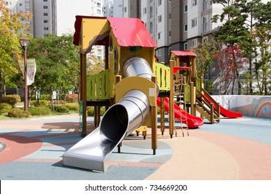 Children playground equipment. Children's playground in the apartment.