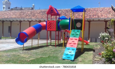 """Children Playground Equipment(TRANSLATION:- """"Let's take care of the Plants..Do not break them..Do not put legs..Do not throw the garbages"""""""