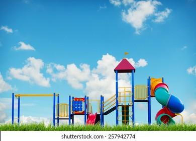 children playground on blue sky summer