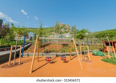 Children playground on bright summer day