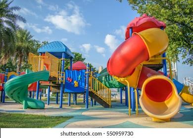 Children playground in park background in the garden of Thailand