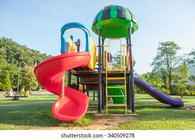 Children playground park in The morning at Thailand.