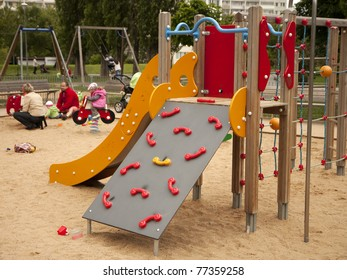 Children playground - slide and climbing frame