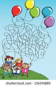Children Playing with Balloons, Maze Game for children. Hand drawn illustration. Task: connect number and baloon! (for vector see image 94947577)