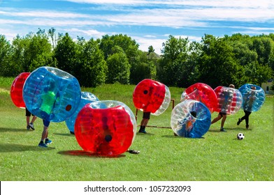 Children playing  in Bubble Football