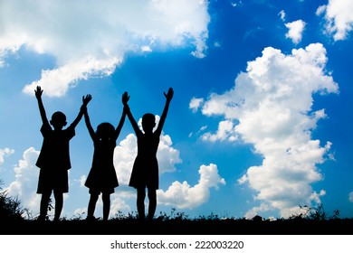 children playing happy time , Silhouette concept