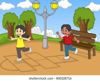 Children playing hopscotch at the yard cartoon image illustration