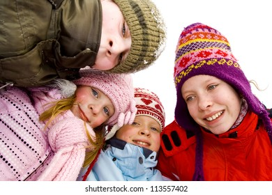 Children playing on the snow