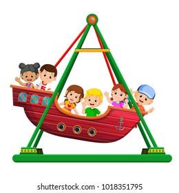 Children playing on viking ride at carnival
