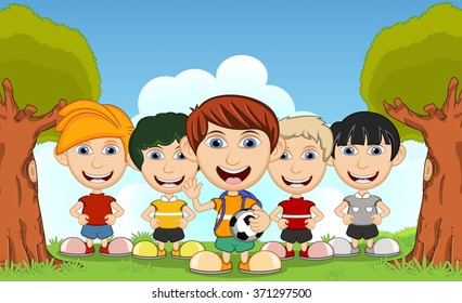 Children playing in the park cartoon