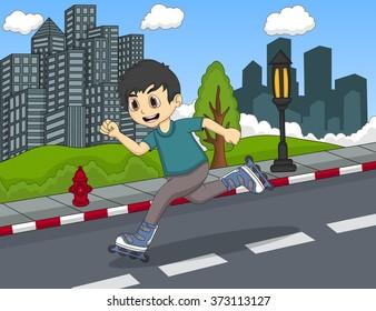 children playing roller skate cartoon