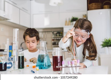 Children playing science at home
