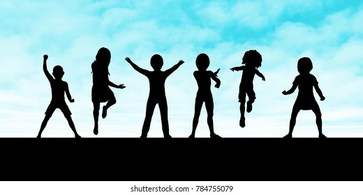 Children Playing Silhouette Against the Setting Sun