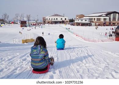 Children playing sledge at ski resort